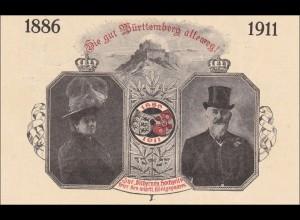 Ganzsache Germania: Erinnerungskarte Hochzeit württ. Königspaar Geislingen 1911