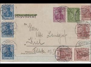 Ganzsache Feldpostbrief Germania, Jeßnitz 1922 nach Kiel