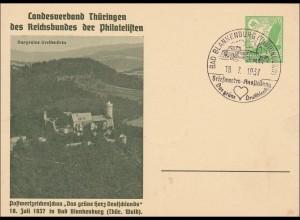 Ganzsache LV ThüringerPhilatelisten 1937 Bad Blankenburg, Sonderstempel gr. Herz