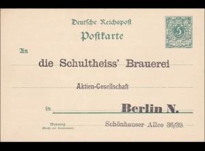 Ganzsache Eindruck Schultheiss Brauerei Berlin, rückseitiger Bestellkarte 190x