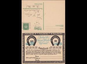 Ganzsache mit Antwort, Braunschweig 1926 nach Neubrandenburg, Werbung Lotterie