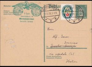 Ganzsache Wermelskirchen 1929 nach Italien