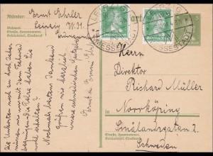 Ganzsache Leipzig Messestadt 1928 nach Schweden