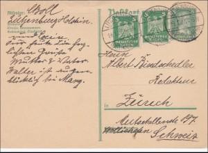 Ganzsache von Lütjenburg Holstein nach Zürich 1927
