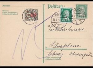 Ganzsache von Hanau in die Schweiz 1927