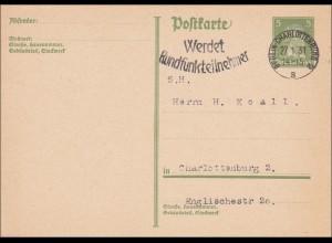 Ganzsache von Berln Charlottenburg, Werbestempel, 1931