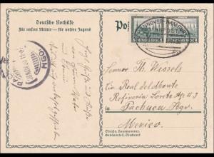 Ganzsache von Winsen Lube 1930 mit Bahnpoststempel Hannover-Hamburg nach Mexico