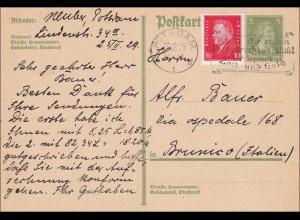 Ganzsache von Postsdam nach Italien 1929