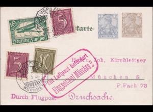 Ganzsache Flugpost Nürnberg nach München: Eine feste Burg ist unser Gott 1922
