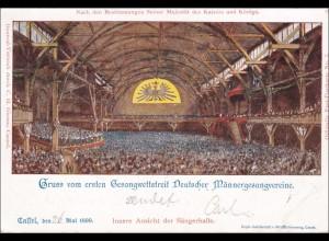 Ganzsache Gruss vom 1. Gesang Wettstreit 1899 Sängerhalle Cassel/Kassel,