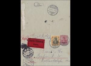 Ganzsachenumschlag von Berlin als Eilbote mit Rohrpoststempel Germania 1911