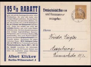 Ganzsache mit Angebot Marken Albert Klickow Wilmersdorf nach Augsburg 1929