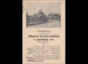 Ganzsache Einladung Gartenbau Ausstellung 1897 in Hamburg nach Schwabach