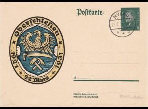 Ganzsache Oberschlesien Mylau 1931, FDC, Ersttag