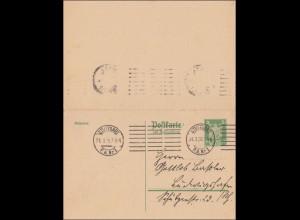 Ganzsache Stuttgart 1926 mit Antwortkarte: P158 I