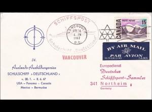Schiffspost Schulschiff Deutschland USA-Panama-Canada-Mexic-Bermudas 1967