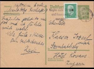 Ganzsache: P180, von Charlottenburg nach Ungarn 1929