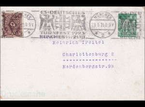 Ganzsache: Deutsches Turnfest 1923, München - Werbestempel nach Charlottenburg