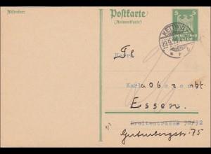 Ganzsache: P163 IA von Kettwig nach Essen 1926 - Antwort