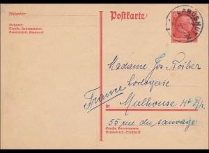 Ganzsache: 1927 von Landshut nach Mulhouse, Frankreich