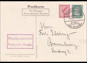Ganzsache: 1927 mit Flugpost Braunschweig-Broken, Bild Hindenburg