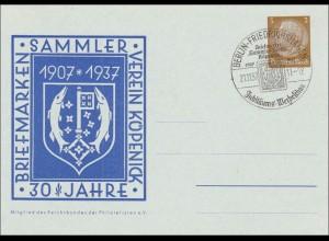 Ganzsache: 30 Jahre Briefmarken Sammler Verein Köpenik 1937, Sonderstempel