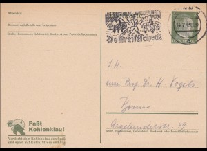 Ganzsache: 1943, Fasst Kohlenklau, Postreisescheck, Bonn, P311o