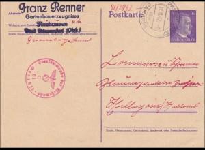Ganzsache: Neuhausen, bei Bamberg, 1942 nach Holland mit Zensur