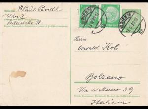 Ganzsache: Wien nach Bolzano/Italien 1939