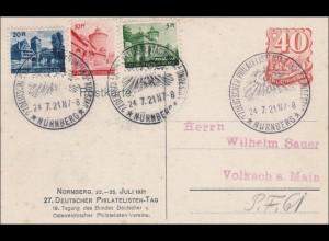Ganzsache: 27. Dt Philatelistentag Nürnberg 1921, Sonderstempel, Sondermarken