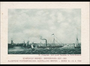 Ganzsache: Schiffspost Bremen-Bremerhaven, Ausstellung Briefmarken 1938,