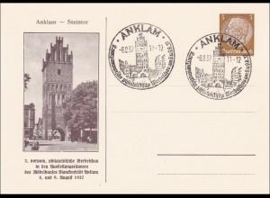 Ganzsache: 2. phil. Werbeschau beim Möbelhaus Blanckenfeldt Anklam 1937,