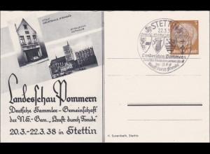 Ganzsache: Landesschau Pommern KdF 1938 in Stettin mit Sonderstempel