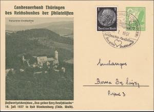 Ganzsache: Postwertzeichenschau 1937 in Bad Blankenburg/Thüringen