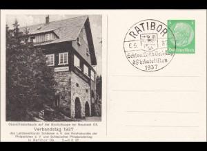 Ganzsache: 1937 Verbandstag Schlesien mit Sonderstempel Ratibor