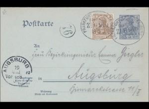 Ganzsache: Germania, Bahnpost Frankfurt-Freiburg nach Augsburg 1903