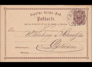 Ganzsache: 1873 von Crefeld