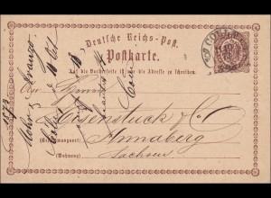Ganzsache: 1873 von Coeln nach Annaberg/Sachsen