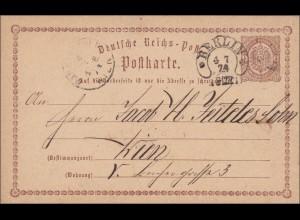 Ganzsache: 1874 von Berlin nach Wien