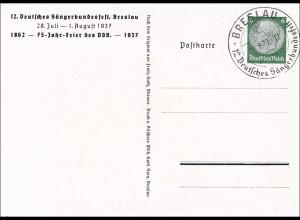 Ganzsache: Sängerbundesfest 1937 in Breslau mit Sonderstempel