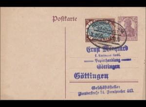 Ganzsache: 1920 Germania mit Zugestempel Hannover nach Göttingen