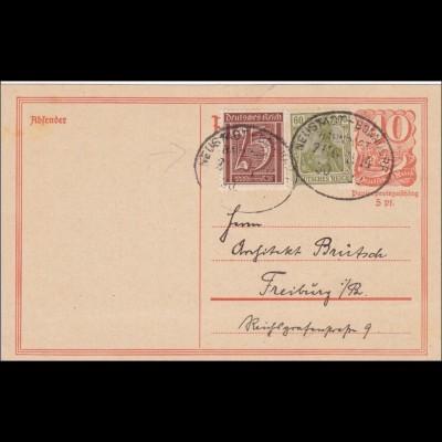 Ganzsache: 1922 mit Bahnpost Neustadt-Bonndorf nach Freiburg