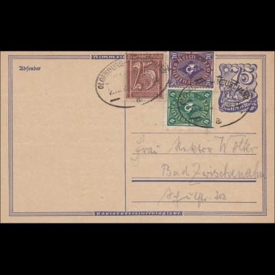 Ganzsache: 1922 mit Zugstempel Oldenburg-Neuschnitz