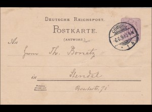 Ganzsache: 1890 von Coburg nach Standal: S von POSTKARTE beschädigt