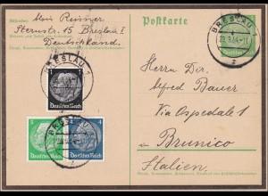 Ganzsache: Breslau 1934 nach Italien