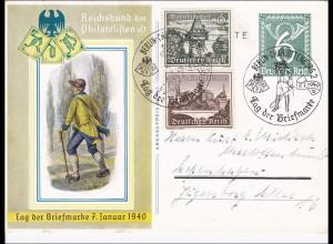 Ganzsache: Tag der Briefmarke 1940 mit Sonderstempel Berlin