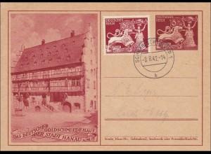 Ganzsache: Goldschmiede Hanau von Schwäbisch Gmünd 1942