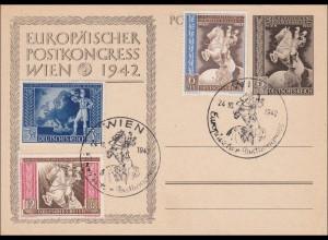 Ganzsache: Europäischer Postkongress Wien 1942 mit Sonderstempel
