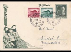 Ganzsache: 1938 von München nach Zürich