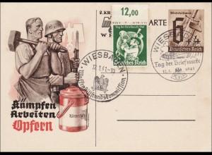 Ganzsache:Kämpfen-Arbeiten-Opfern Kriegskarte1941,Waffenstillstandskommission